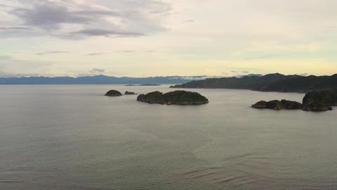 Tropical islands during sunset, aerial drone . Caramoan Islands, Philippines Live Action
