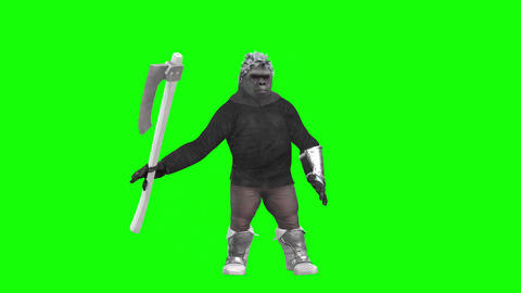 919 HD MISTERY 3d animated monkey stay and manipulate with axe Animation