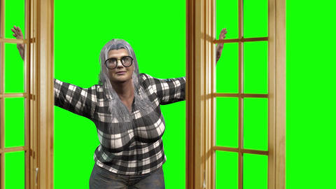 913 HD QUARANTINE 3D animated old woman looking trouth window Animation