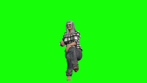 916 HD OLD AGE 3d animated energetic woman sitting talking walking Animation