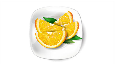 Sliced orange on a white plate and white background Animation