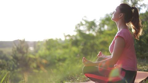 Meditative women practicing yoga exercises. Healthy Lifestyle Live Action
