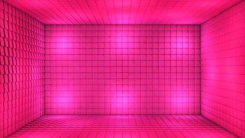 Broadcast Pulsating Hi-Tech Cubes Room Stage, Pink, Events, 3D, Loopable, 4K Animation