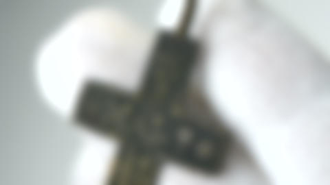Blurred background. ancient cross archaeological find White background Live Action