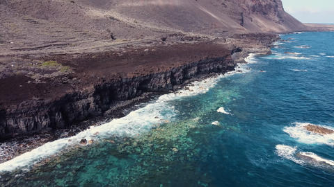 Aerial view of a scenic coastline landscape in el Hierro island, Canary Islands Live Action