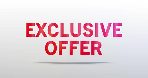 Exclusive Offer. Particle Logo. Red Text Animation Animation