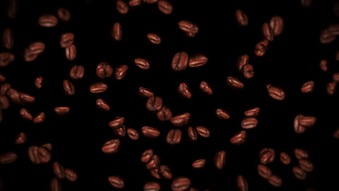 Flying many coffee beans on black background. Caffeine drink, Breakfast, Aroma. 3D animation of Animation
