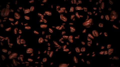 Flying many coffee beans on black background. Caffeine drink, Breakfast, Aroma. 3D animation of 애니메이션