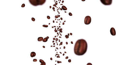 Flying many coffee beans on white background. Caffeine drink, Breakfast, Aroma. 3D animation of Animation