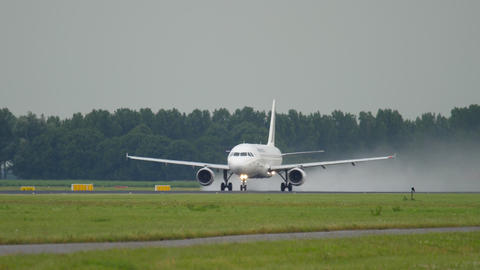 Air France Airbus 320 speeding up for take-off Live Action
