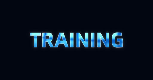 Training. Electric lightning word. Text Animation Live Action