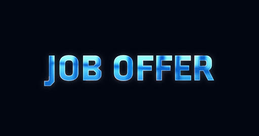 Job offer. Electric lightning word. Text Animation Animation