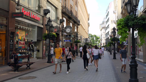 5 Vaci Utca Famous Shopping Street In Budapest Hungary Europe Live Action