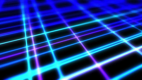 Bright technology of blue neon lines. Business concept. 3D rendering of rotating squares crossing on Animation