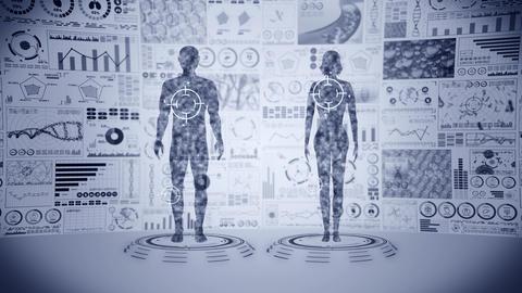 Man and woman virtual body. Human medical hologram animation. Graph, Diagram, Info graphic. Medicine Animation