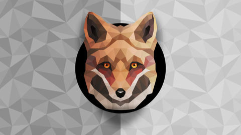 Polygonal Fox background. Animal head. Low polygon loop animation. Geometric wildlife. Polygonal Animation