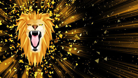 Polygonal Lion background. Animal head. Low polygon loop animation. Geometric wildlife. Polygonal Animation