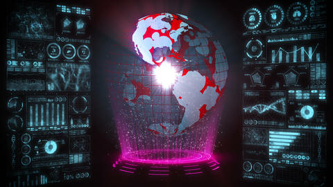Pandemic of infection. Global earth with red dots of infection. Medical hologram elements of digital Animation