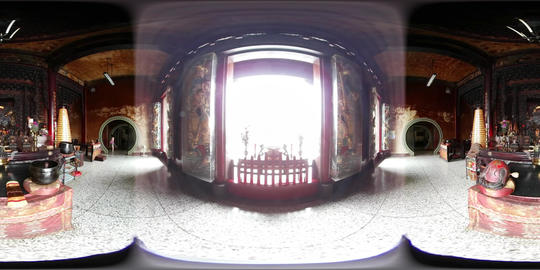 360VR video at Longfeng Temple interior Footage