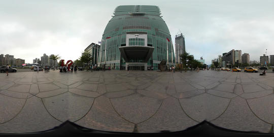 360VR video under the Taipei 101, world trade center building Footage