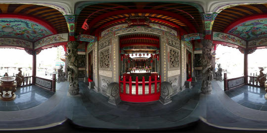 360VR video of interior at Mazu Temple in Tamsui Footage