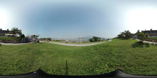 360VR video at Longmi riverside park at Tamsui river Footage