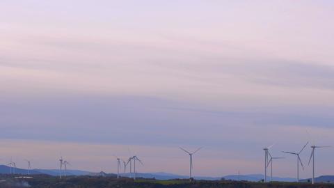 wind turbine producing energy: renewable energy, green energy Footage