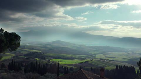 tuscany landscape in Val d'Orcia Footage