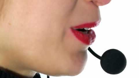 Call center operator woman. Close up. 4k Footage