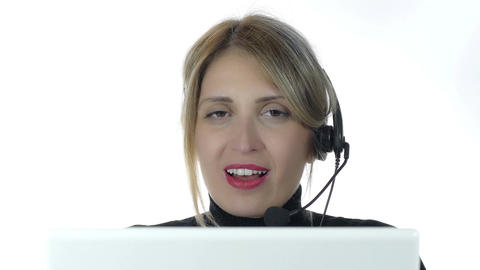 Portrait of beautiful young blonde businesswoman headset in call center. 4k Footage