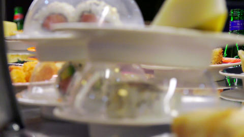 detail on dishes ready to eat available to customers in an ethnic restaurant Footage