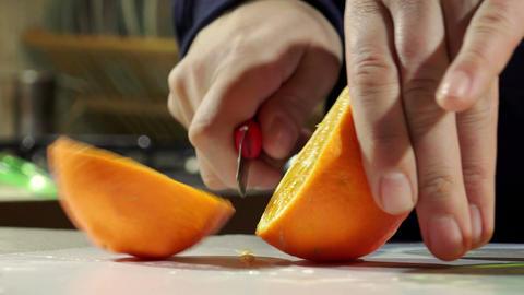 cutting oranges to make orange juice Footage