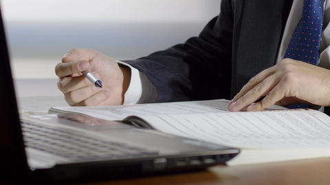 businessman at work checking documents Footage
