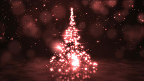 Sparkling Rotating Christmas Tree Animation - Loop Red Animation