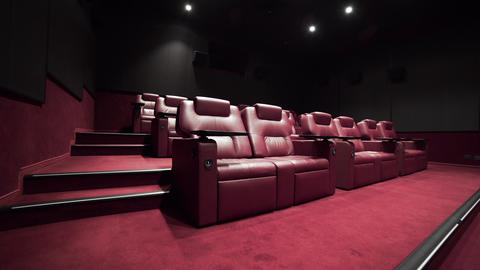 Panorama of the cinema theater with comfort leather 3 Live Action