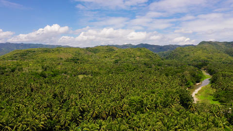 Mountain landscape with clouds. Mountains on Leyte Island, Philippines Live Action