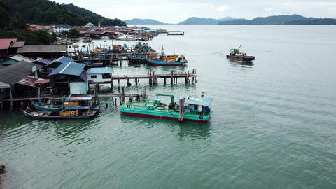 Aerial fishing boat on journey at Pangkor Island Live Action