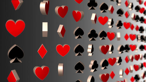 Revolving 3D Playing Card Suits and Symbols Casino Background Animation