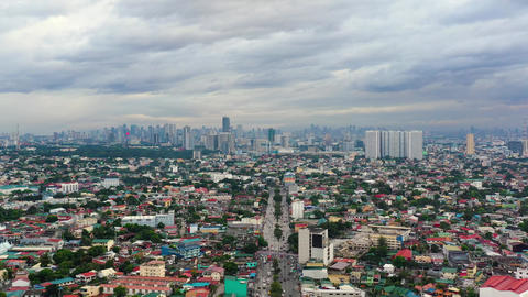 Manila, the capital of the Philippines, aerial view Live Action