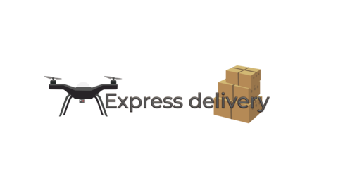 "Drone flight and text ""Express Delivery"" Animation"