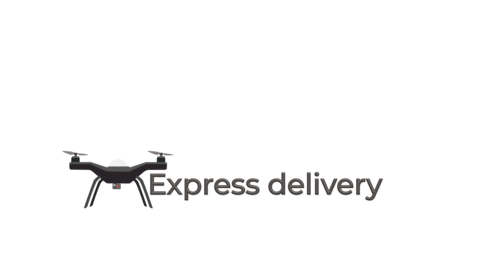 Drone flight and text Express Delivery Animation