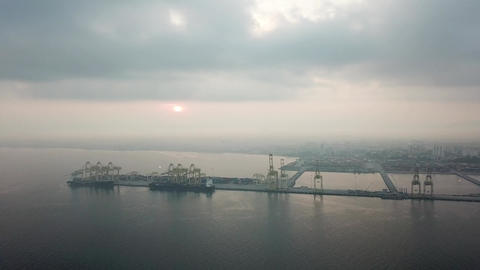 Aerial view container terminal at North Butterworth Container Terminal Live Action