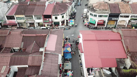 Morning market at Lebuh Kimberly in morning Live Action