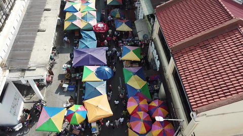 Aerial famous morning market with colorful tent in the morning Live Action