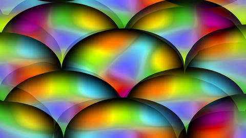 Psychedelic spheres, group of balls in vivid rainbow colors. Color changing Animation