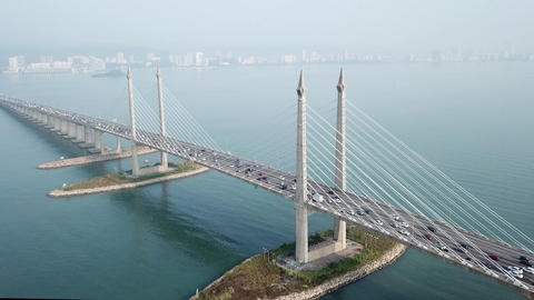 Aerial view tracking the Penang Bridge architecture Live Action