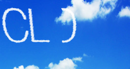 cloud concept written on the blue sky and white clouds, new technology Live Action