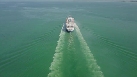 Drone shot Cruise Leisure World on voyage Live Action