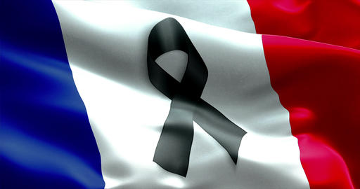 pray for paris, nice, france, waving france country flag color background with black ribbon. Attack Live Action