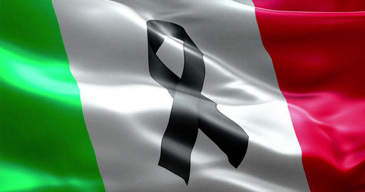 pray for italy, waving italy country flag color background with black ribbon Live Action